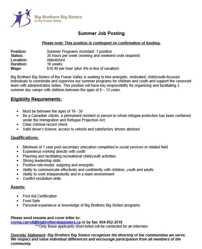 Abbotsford Programs Assistant - Big Brothers Big Sisters of